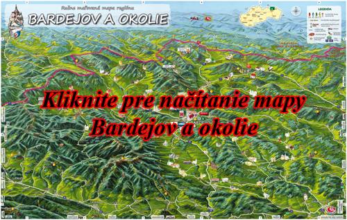 Interaktívna maľovaná mapa Bardejov a okolie