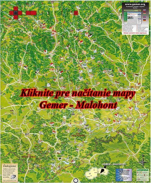 Interaktívna maľovaná mapa Gemer - Malohont