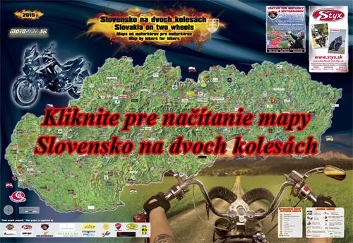 Interaktívna maľovaná mapa Slovensko na dvoch kolesách