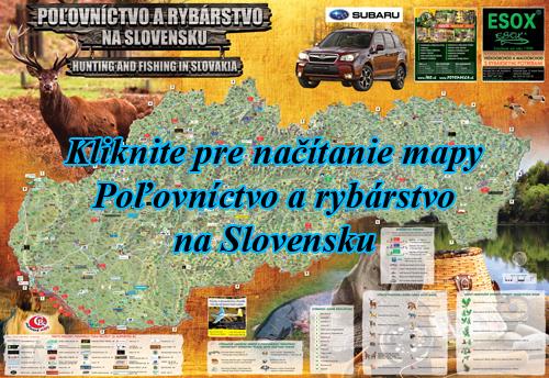 Interaktívna maľovaná mapa Poľovníctvo a rybárstvo na Slovensku