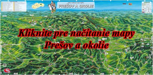 Interaktívna maľovaná mapa Prešov a okolie