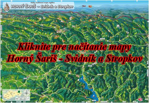 Interaktívna maľovaná mapa Horný Šariš - Svidník a Stropkov