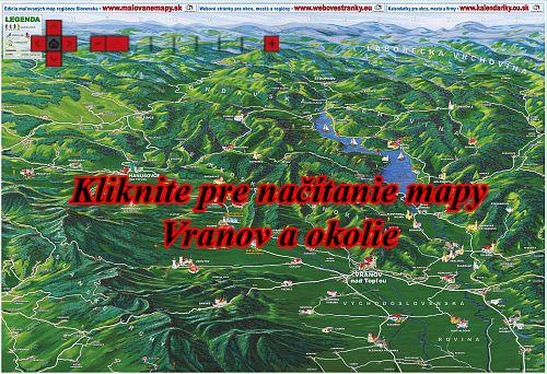 Interaktívna maľovaná mapa Vranov a okolie
