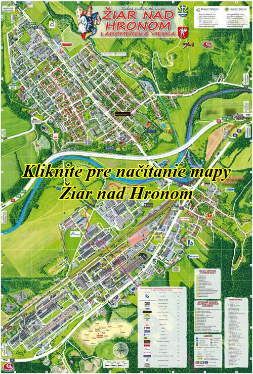 Interaktívna maľovaná mapa Žiar nad Hronom